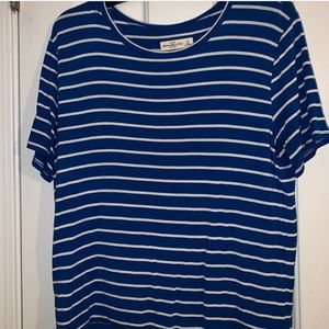 Blue and White striped short sleeve shirt.
